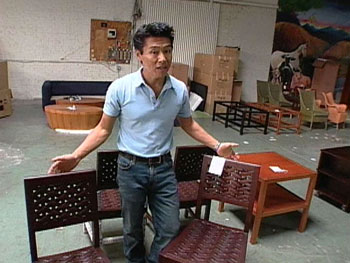 Vern Yip shops a furniture warehouse in Atlanta, Georgia.