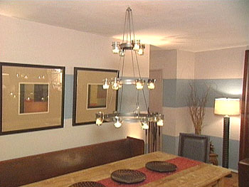 Before and after of dining room lighting