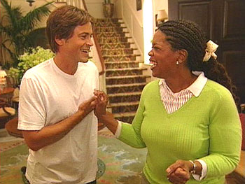Actor Rob Lowe gives a tour of his house.
