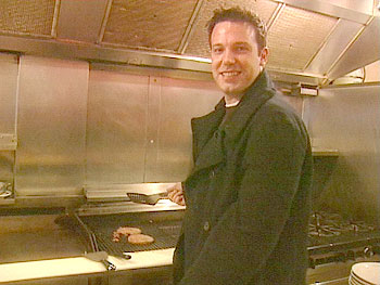 Ben Affleck tries his hand at being a short order cook.