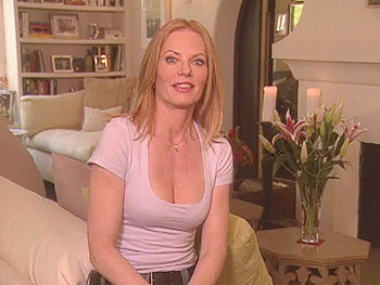 Actress Marg Helgenberger decorated her living room in lavender and green.