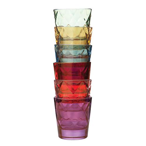 Euforia Set of Six Colored Glass Tumblers