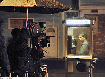 Michael Imperioli films a rainy scene