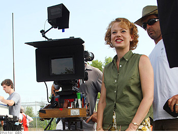 Samantha Mathis waits to shoot her scenes.