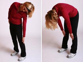 Andrea Metcalf demonstrates alternate side benders.