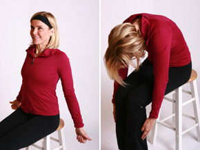 Andrea Metcalf demonstrates the spine roll squeeze.