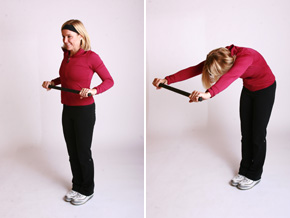 Andrea Metcalf demonstrates a grocery store exercise.