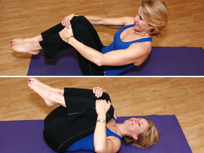 Andrea Metcalf demonstrates the spine roll.