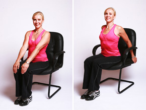 Andrea Metcalf demonstrates the chest stretch exercise.
