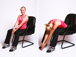 Andrea Metcalf demonstrates the seated roll up exercise.