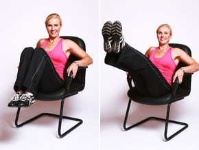 Andrea Metcalf demonstrates the seated V balance.