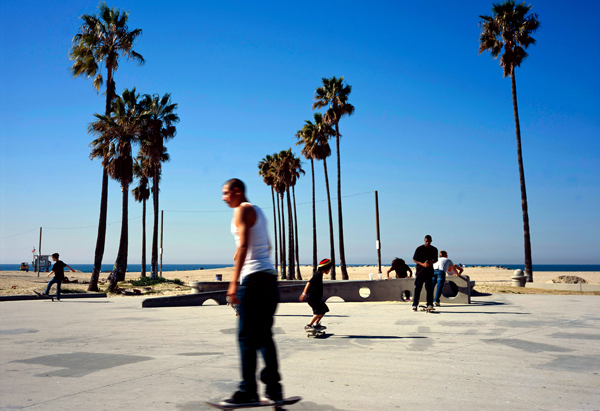 Skateboarding in Venice Beach
