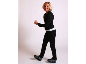 Andrea Metcalf demonstrates heel walking.