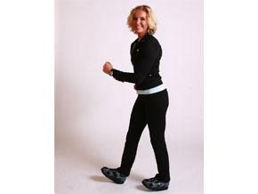 Andrea Metcalf demonstrates heel walking.