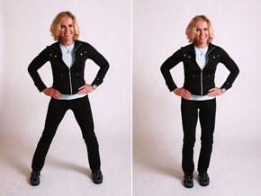 Andrea Metcalf demonstrates side walking.