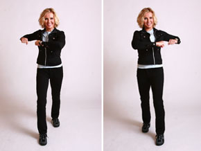 Andrea Metcalf demonstrates the waist whittler walking exercise.