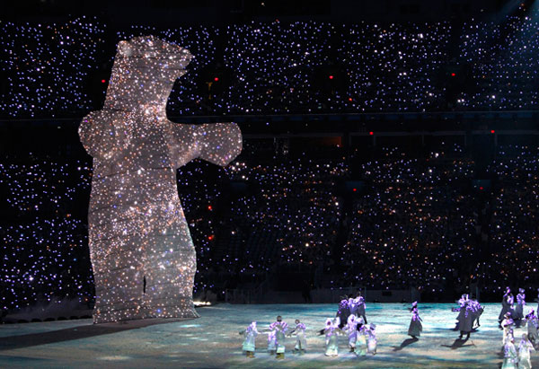 LED bear at opening ceremony