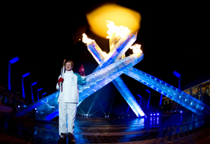Wayne Gretzky at the opening ceremony of the Olympic Games