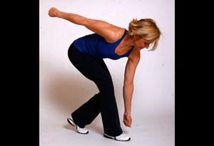 Andrea Metcalf demonstrates her corner mini-dig exercise.
