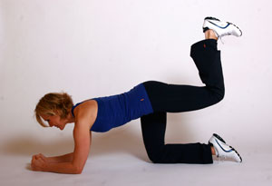 Andrea Metcalf demonstrates a bottom push-up.