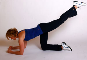 Andrea Metcalf demonstrates a single leg circle.