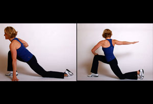 Andrea Metcalf demonstrates her lunge and twist exercise.