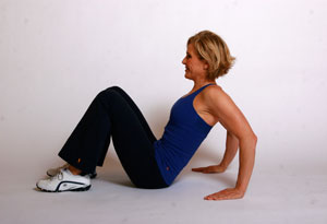 Andrea Metcalf demonstrates a reverse plank lift.