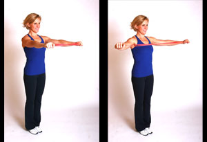 Andrea Metcalf demonstrates her wide posture pull exercise.