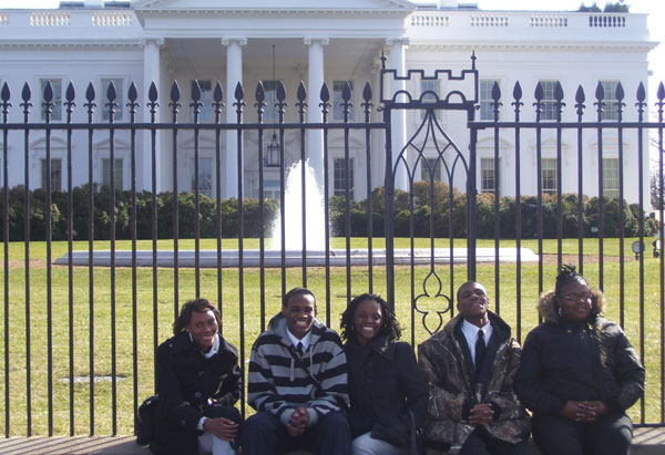 The Tilden students pose outside the White House.