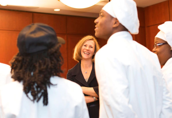 Karen Duncan congratulates the winners.