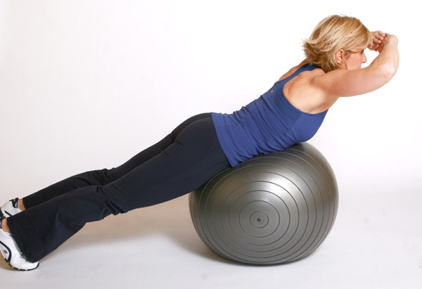 Andrea Metcalf demonstrates the back extension exercise.