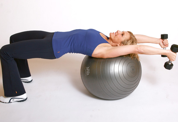 Andrea Metcalf demonstrates the straight lat combo exercise.