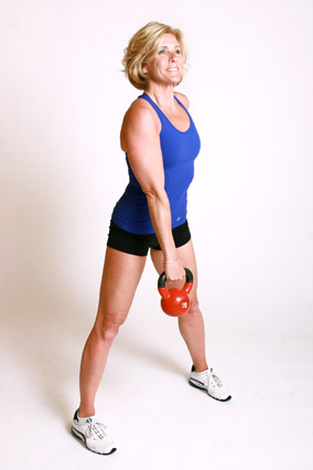 Andrea Metcalf demonstrates how to do the single arm dead lift exercise using a kettlebell.