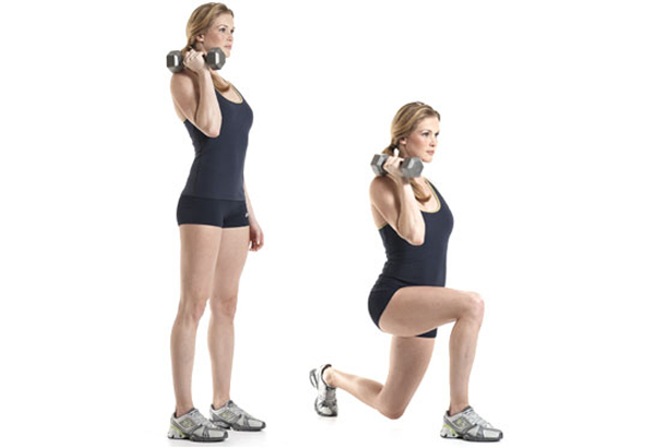 Offset dumbbell lunge