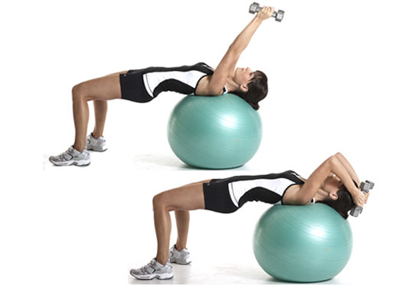 Swiss ball lying triceps extension