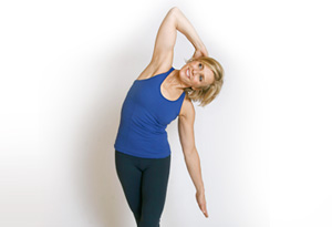 Andrea Metcalf demonstrates the IT band stretch.