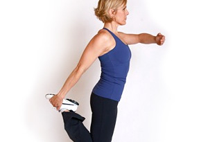 Andrea Metcalf demonstrates the standing single leg stretch.