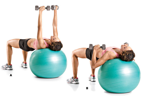 Swiss ball dumbbell chest press
