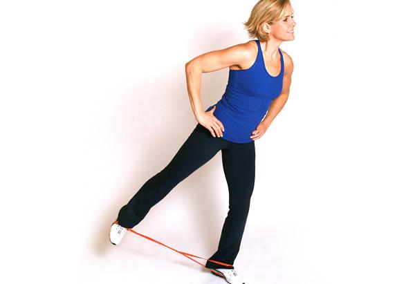 Andrea Metcalf demonstrates the side walk leg kick.
