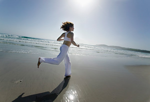 Running on the beach is great exercise.