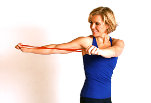 Andrea Metcalf demonstrates the twister exercise.