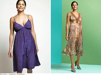 Jacqueline's dress flatters her top-heavy figure.