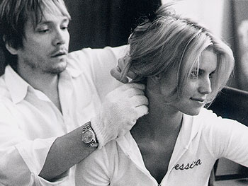 Ken Paves works on Jessica Simpson's wedding hair