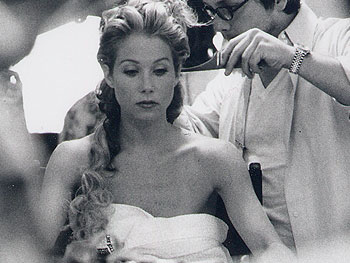 Ken Paves and Christina Applegate get her wedding hair ready