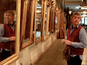 Keith Johnson looking at mirrors