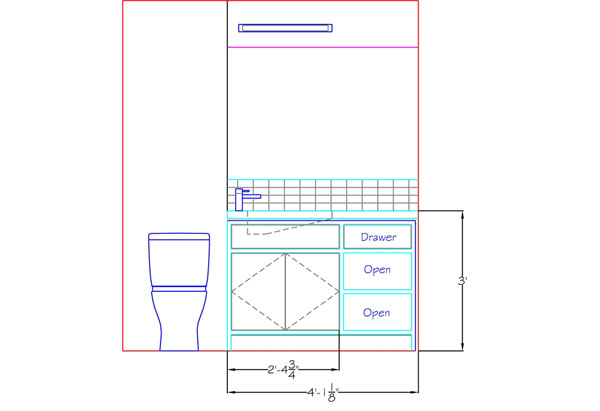 The floor plan for a new bathroom