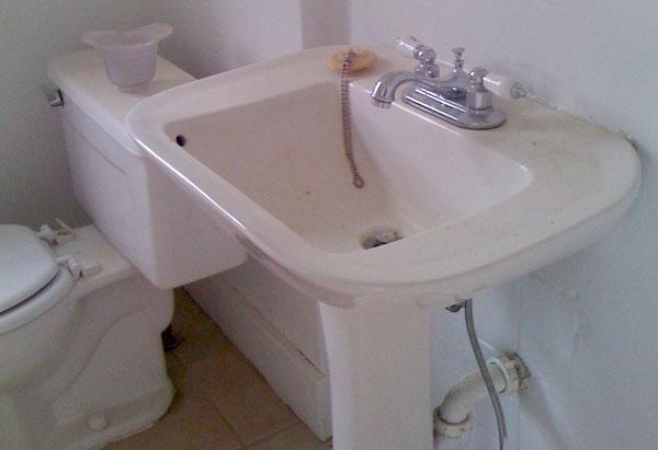 Simran Sethi's old pedestal sink