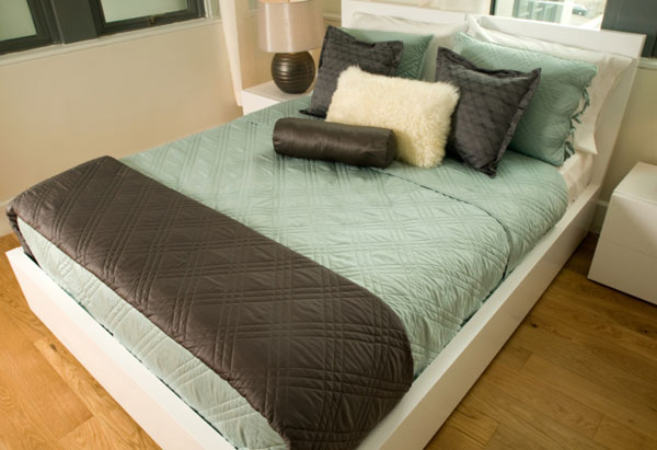 Turquoise and chocolate bed