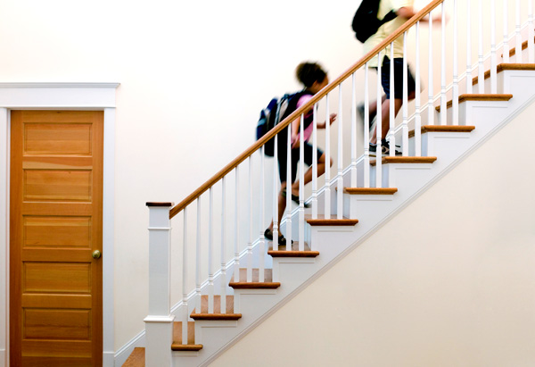 Kids running up the stairs