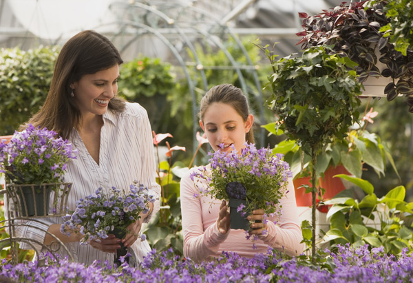 Mother and daughter at the plant nursery